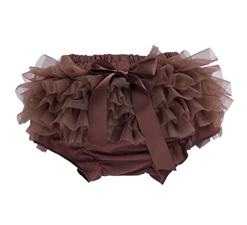 Ding-dong Toddler Baby Girl Summer Voile Ruffle Diaper Cover Bloomers¨Style 2 Brown,3-6M -