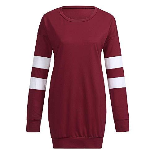Taglie Taglie Lunga Forti Rosso Rosso Senza Felpa Spalline Colore Colore Pullover Tunica XXL ZHRUI Oversize Manica Donna Donna T 16 Tops Shirt Allentato 14 Pianura Casual Camicetta UK Dimensione f7xqFnRd