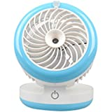 Lznlink Water Mist Fan Misting Humidifier USB Rechargeable Fans Spraying Powerful Office Desktop Mobile Power Ventilador (Blue)