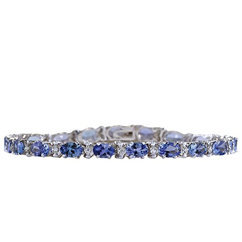 9.74 Carat Natural Blue Tanzanite and Diamond (F-G Color, VS1-VS2 Clarity) 14K White Gold Tennis Bracelet for Women Exclusively Handcrafted in USA ()