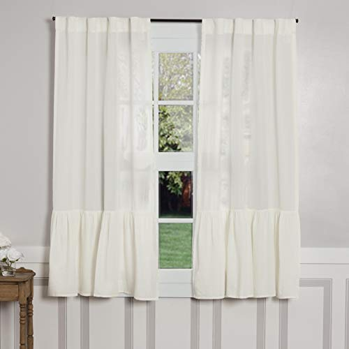 Piper Classics Annabelle High Ruffle Panel Curtains, Set of 2, 63