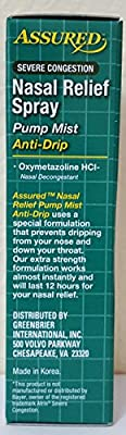 Nasal Relief Spray, Pump Mist, Anti-drip, Severe Congestion, (Oxymetazoline HCI ) 12 Hours, 3 Pack.