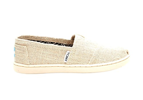 Youth Natural (Toms - Youth Classic Slip-On Shoes, Size: 5 M US Big Kid, Color: Natural Linen)