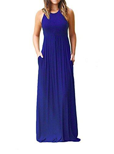 Soficy Women's Halter Sleeveless Long Floor Length Vest Maxi Slim Beach Dress Wblue XXL