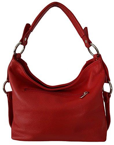 Sa Lucca echt Leder Handtasche Schultertasche Damentasche rot