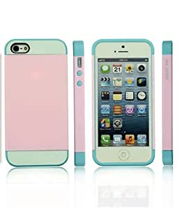 Nx Hard Shell Anti-scratch Transparent Case / Cover for Iphone 5 and 5s (Light pink/Light Blue)
