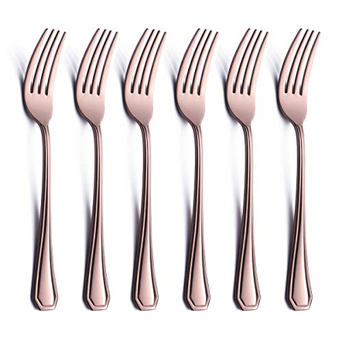 6 Piece Dinner Fork Set Rose Gold 18/0 Stainless Steel 8 Inch Copper Table Salad Dessert Fork Serving for 6 Silverware Flatware Forks Only Bulk Modern Heavy Weight Eating Cutlery ()