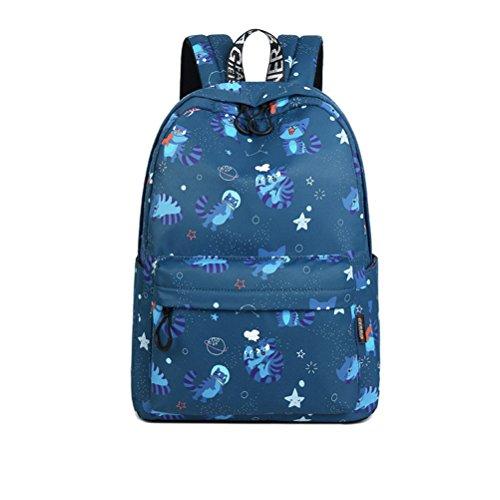 nuevo tejido impermeable y mochila mujer lindo gato Animal Impresión patrón Girls College Rosa Mochila de gran capacidad de 14 pulgadas Dark Blue