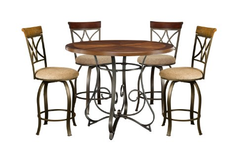 Powell 697-441M1 5-Pc. Hamilton Gathering Set Dining, Brushed Faux Medium Cherry Wood;Matte Pewter & Bronze Metal