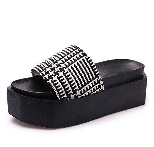 AJUNR Moda/elegante/Transpirable/Sandalias La cuadrícula de 6cm de espesor zapatillas bizcocho zapatos zapatos de mujer Negro 36 35