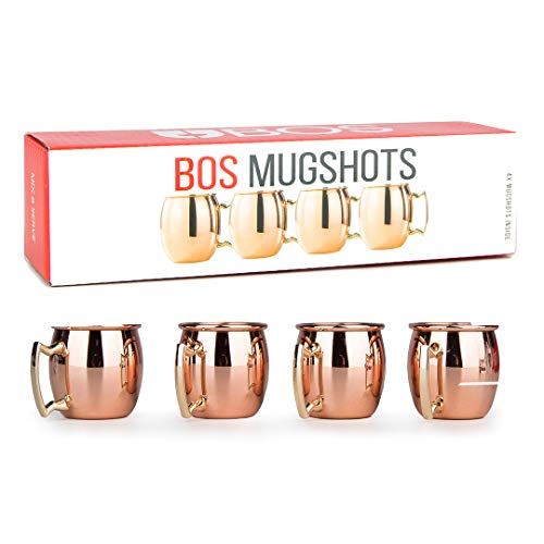 (Mini Moscow Mule Copper Espresso Shot Glasses: Cute 2oz Mugs for Mini Bar | Set of 4 | Perfect Shotglass Gift for Men and Women, Bachelorette or Wedding Party)