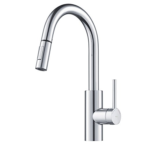 (KRAUS Oletto Single Handle Pull Down Kitchen Faucet in Chrome Finish)