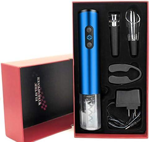 ALIKEY Sacacorchos Eléctrico nalámbrico profesional Caja de regalo recargable automática Kit de caja de vino regalo accesorios de vinoabre-botellas-Azul: Amazon.es: Electrónica