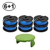 RONGJU 6 Pack Weed Eater Spool for Greenworks 21332 21342 24V 40V 80V Cordless Trimmer 16ft 0.065' Single Line String Trimmer Replacement Spool 29252 with 3411546A-6 Spool Cap Covers (6 Spools, 1 Cap)