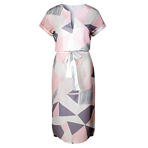 LitBud Womens Dresses Summer for Women Ladies Short Sleeve Casual Vintage Office Party Holiday Belted Shift Midi Tunic Dress Pink Size 8 10 L