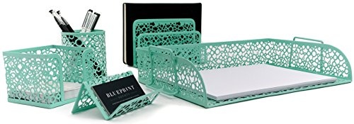Blu Monaco Mint Green Desk Organizer for Women - 5 Piece Desk Accessories Set - Letter - Mail Organizer, Sticky Note Holder, Pen Cup, Business Card Holder, Paper - Document Tray - Mint Green Locker Room Decor