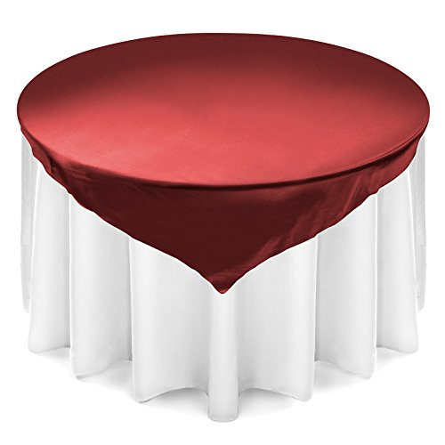 Lann's Linens 72 inch Square Satin Tablecloth Overlay - Wedding Banquet Party Decoration - Burgundy