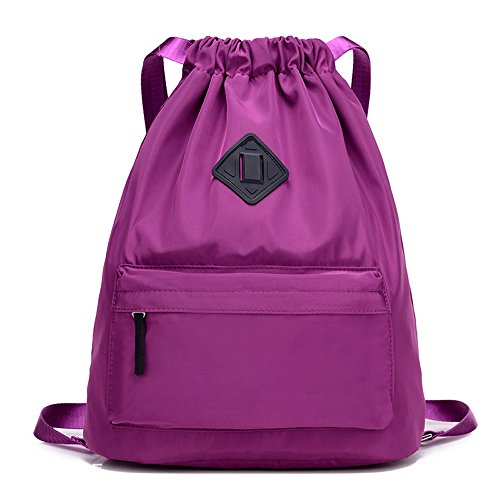 Travel Sports Yoga Gym Drawstring Bag Training Gymsack Sackpack(Purple)