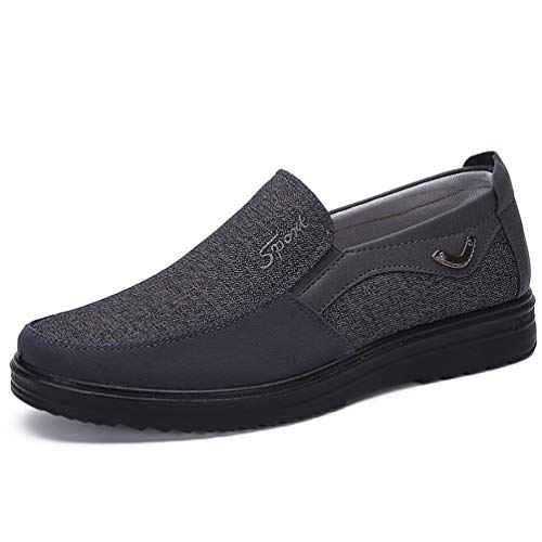 COSIDRAM Men's Slip-On Loafer Casual Driving Shoes Breathable Canvas Comfortable Lightweight Great Travel Walking Shoes for Adult Male Black Grey Brown Plus -