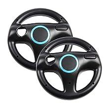 Jadebones 2 x Black Steering Mario Kart Racing Wheel for Nintendo Wii Remote
