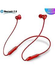 Sports Headphones Bluetooth Earphones,Wireless Headphones Splashproof Noise Cancelling Magnetic Earbuds Bluetooth 5.0 In-Ear Headphones Hanging Ear Hanging Neck Design,A