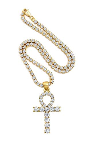 Shiny Jewelers USA Mens Hip HOP Gold ICED Out Micro Double ANKH Cross Pendant Cuban Rope Box Chain Necklace Set (Rapper Ankh Tennis Chain 18