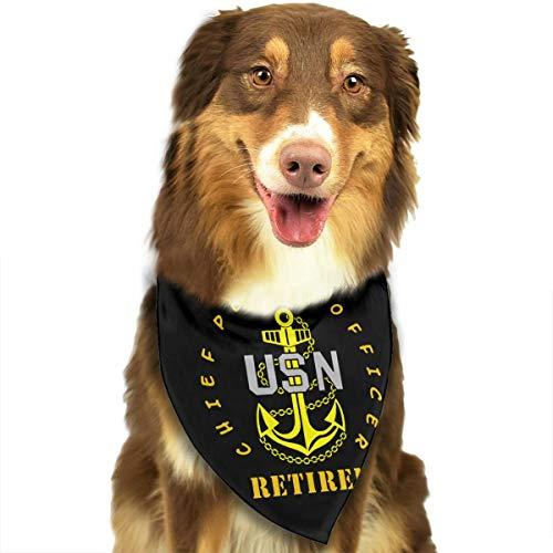 HJKH PJKL US Navy - CPO Chief Petty Officer Retired Pet Dog Puppy Cat Neck Scarf Bandana Collar Neckerchief Mchoice - Any Pets
