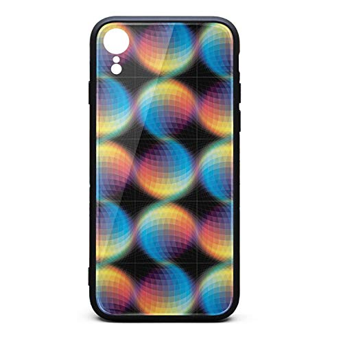 Hiunisyue iPhone XR Case Trippy Art Colorful 9H Tempered Glass Back Cover Soft TPU Frame Scratch Resistant Shock Absorption Cover Case Compatible for iPhone XR]()