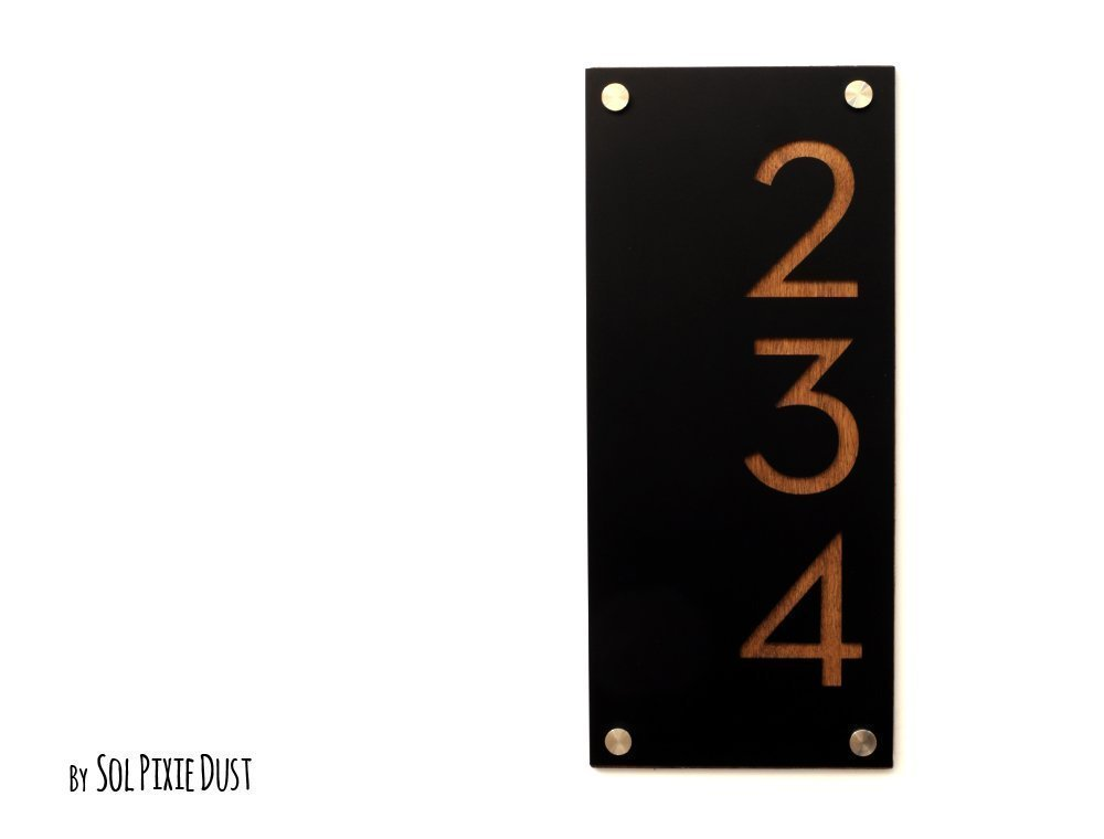 Modern House Numbers, Black Acrylic with Wood - Vertical - Contemporary Home Address -Sign Plaque - Door Number
