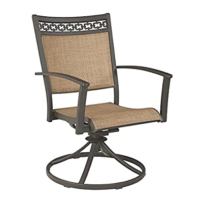 """Signature Design by Ashley P376-602A Carmadelia Dinning Table Set, 25"""" x 27"""" x 36"""", Tan/Brown - SLING SWIVEL CHAIR SET: Update your patio, deck or backyard space with these clean-lined swivel chairs. You'll enjoy how practical and stylish it is with your outside decor DURABLE DESIGN: Made with a long lasting powder-coated, rust-free aluminum frame and cast design. PVC sling is quick-draining for rainy days CONTEMPORARY STYLE: Tan cross-hatched PVC seating ensures a supple, supportive balance while dining for carefree, modern comfort you can feel - patio-furniture, patio-chairs, patio - 41OWbR4vFmL. SS400  -"""