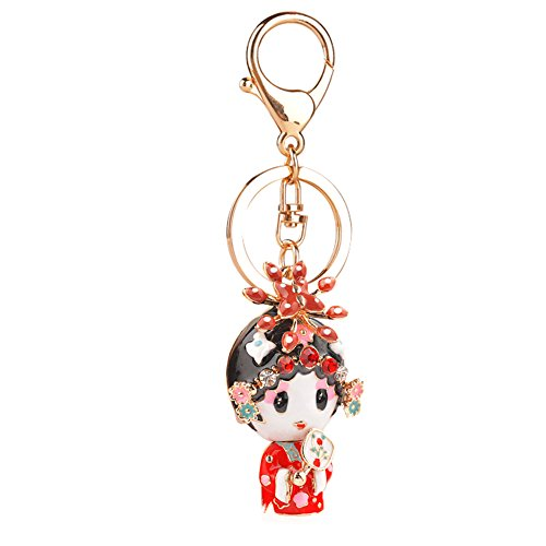 Chinese Style Keychain Crystal Opera Doll Keyring Couples Gift Wedding (Chinese Opera Dolls)