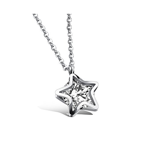 Gorgeous Jewelry Double Star with Filling Cubic Zirconia Pendant Titanium Steel Necklace