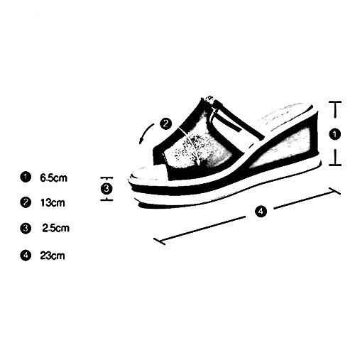 Altura 5cm Deducción LIXIONG Blanco de colores Aumentar abierta EU3 Color perforación 2 verano moda Hembra Punta tacón Moda zapatillas del 6 Antideslizante Zapatos Porciones Blanco de zapato Tamaño TrTxOqw