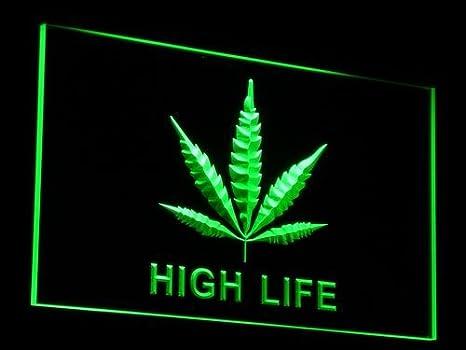 Amazoncom Marijuana Hemp Leaf High Life Bar Beer Led Neon Sign