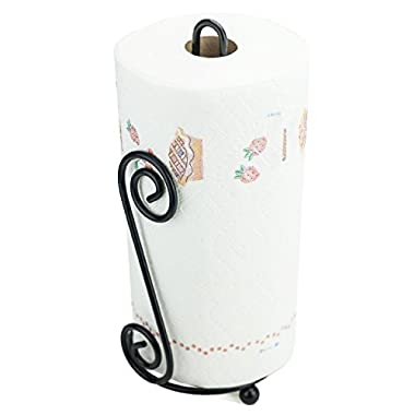 Huji Durable Black Steel Scroll Paper Towel Holder (1)