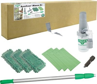 Unger Window Cleaning Kit, Speed Clean, Washable Pads, Green