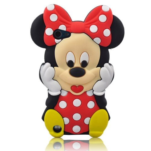 Red 3D Cute Minnie Mouse Silicone Case for iPod Touch 6th/ 5th Generation + BUKIT Cell Cloth + Minnie Figure Touch Pen + Screen Protector + METALLIC Stylus Touch Pen