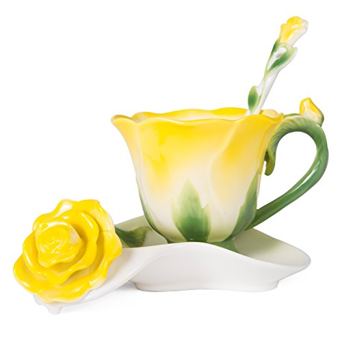 Beddinginn Hand Crafted Collection Porcelain Coffee Tea Cup Sets with Saucer and Spoon Rose Shape Design(Yellow)