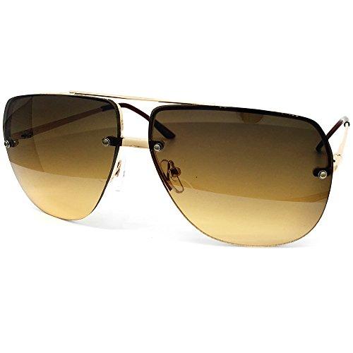 O2 Eyewear 3112 Tint Lenz Teardrop Rimless Metal Frame Womens Mens Aviator Sunglasses (Rimless, - Brown Sunglasses Light Tint