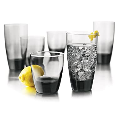 Libbey Classic 16-Piece Glassware Set, Smoke