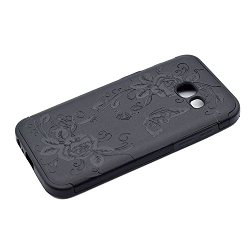 inShang Funda para Samsung Galaxy A3(2017) suave TPU Carcasa Cajas Soporte Skin case cover Para Galaxy A3(2017) + clase alta 2 in 1 inShang marca negocio Stylus pluma Black butterfly flower