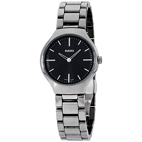 4c0417825 Rado True Thinline Black Dial Platinum-Tone Ceramic Ladies Watch R27956152