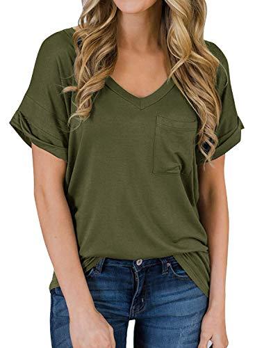 Yidarton Women's Short Sleeve T Shirts V Neck Top Blouses Loose Tees Front Pockets(Green,XL) ()