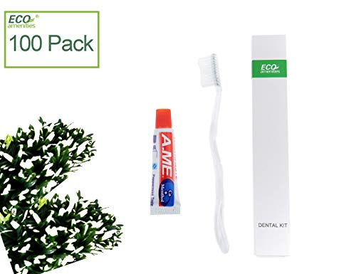 ECO Amenities Manual Disposable Toothbrush with Toothpaste, Individually Wrapped Paper Box, 100 Set per Case