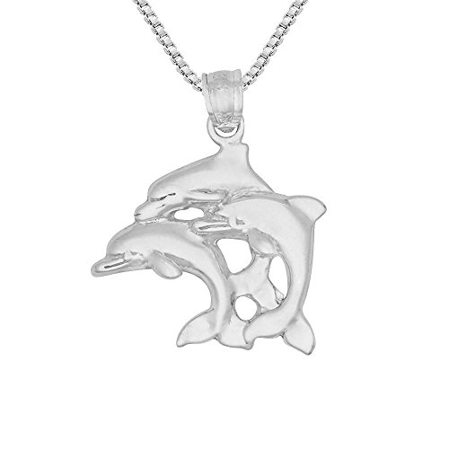 Sterling Silver Triple Dolphins Pendant, Made in USA, 18