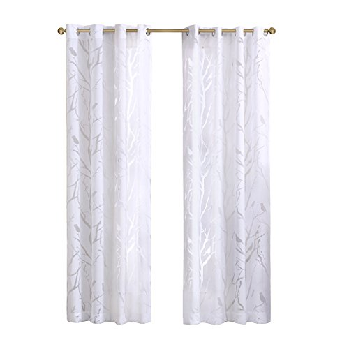 Madison Park Sheer Curtains for Bedroom, Moden Grommet White Sheer Curtains for Living Room, Averil Nature Modern Grommet Sheer Curtain, 50X63, 1-Panel Pack