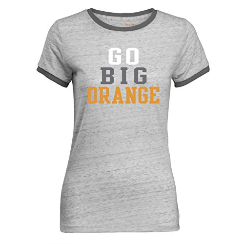 Ladies Heathered Ringer Tee - NCAA Tennessee Volunteers Women's Ringer T Shirt, Charcoal, Small