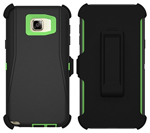Galaxy Note 5 Case, ToughBox® [Armor Series] [Shock Proof] [Black | Lime] for Samsung Galaxy Note 5 Case [Built in Screen Protector] [Holster & Belt Clip] [Fits OtterBox Defender Series Belt Clip]