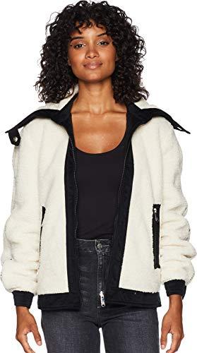 (Sam Edelman Women's Short Berber Jacket w/Contrast Fabric Detail Metallic Lined Anorak Ivory)
