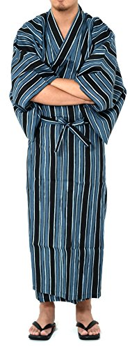Stripe Kimono Dress - Wako Men's Traditional Easy Wearing Japan Cotton Yukata Robe(Japan Cotton Casual Kimono) Poetic Stripe Medium Men